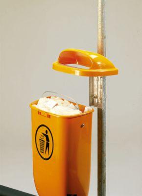 Volledige aanbieding: afvalbak 50 l. + buispaal, oranje