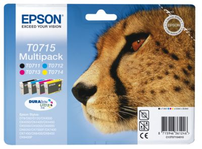 Voordeelpak : Epson 4 Inktpatronen T07154010 cyaan/magenta/geel/zwart, pak van 4 stuks