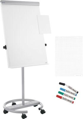 Voordeelset: verrijdbare flipchart  MAULoffice, mobiel, met 1 blok papier en 4 markers