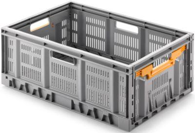 Vouwdoos, recyclebaar en stapelbaar, maximale belasting 20 kg, 600 x 400 mm, hoogte 233 mm, grijs