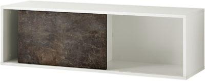 Vrijhangende boekenplank ALTINO, 2 legplanken, 1 schuifdeur, B 1200 x D 360 x H 370 mm, basalto donkerbruin/wit