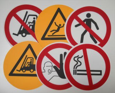 Rond waarschuwingsbord voor op de grond: Verboden voor voetgangers