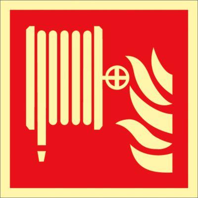 Waarschuwingsteken Brandslang, 200 x 200 mm