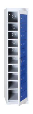 Wäscheschrank, abschließbar, mit 10 Fächern, Höhe 1800 mm, lichtgrau/enzianblau