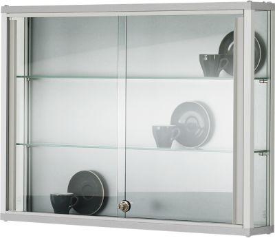 Wand-Präsentationsvitrine, 1000 x 800 x 200 mm, 2 Glasböden, abschließbare Schiebetür
