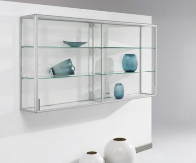 Wand-Präsentationsvitrine, 2020 x 300 x 1020 mm, silber