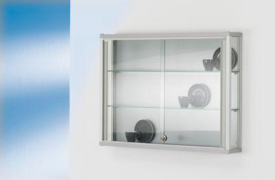 Wand-Präsentationsvitrine, 800 x 590 x 120 mm, 2 Glasböden, abschließbare Schiebetür