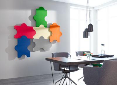 Wandabsorber Puzzle, B 1000 x H 500 mm, Polyestervlies in Filzoptik, Elfenbein