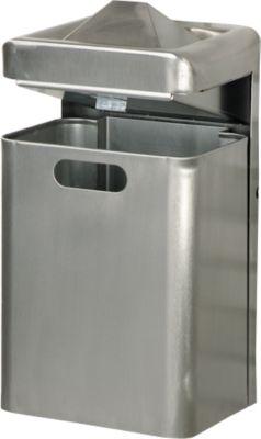 Wandascher-/Abfallkombination, 35 Liter, Edelstahl