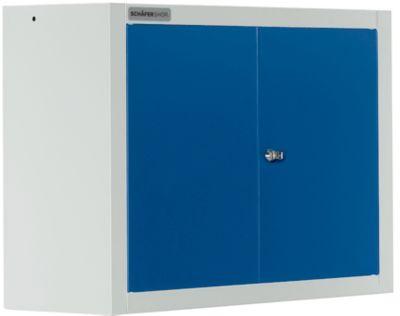 Wandkast MS 750 met vleugeldeuren, B 750 x D 320 x H 600 mm, lichtgrijs/blauw
