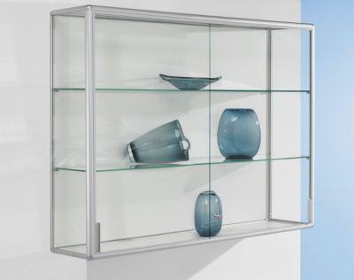 Wandvitrine, 1020 x 300 x 1020 mm, zilver