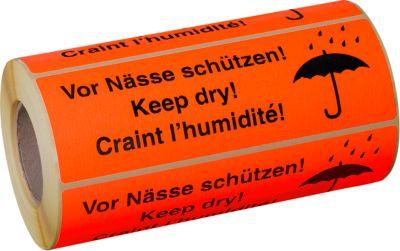 Warnetiketten Vor Nässe schützen, 500 Stück