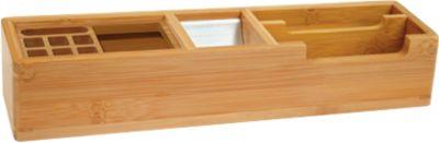 Wedo tafelorganisator bamboe, 2 vakken, 2 aluminium inzetstukken, 2 aluminium inzetstukken