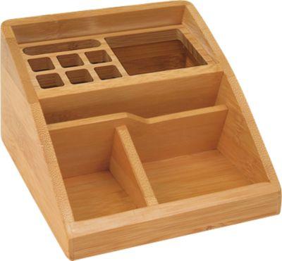 Wedo Tischorganizer Bambus, 3 Fächer, 1 Aluminium-Einsatz