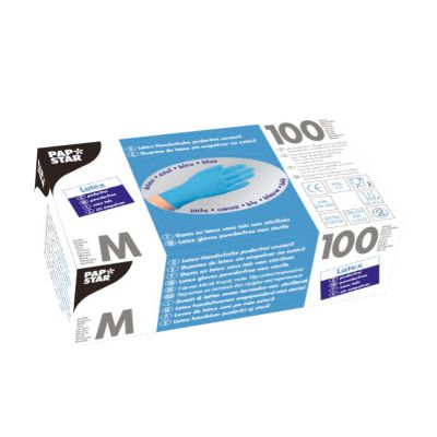 Wegwerphandschoenen, latex, poedervrij, blauw, 100 stuks, maat M