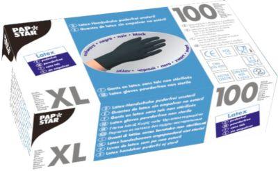 Wegwerphandschoenen, latex, poedervrij, zwart, 100 stuks, maat XL