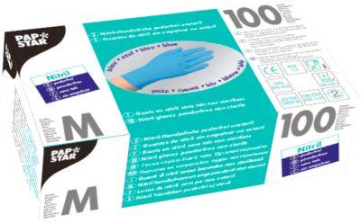 Wegwerphandschoenen, nitril, poedervrij, blauw, 100 stuks, maat M