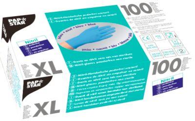 Wegwerphandschoenen, nitril, poedervrij, blauw, 100 stuks, maat XL