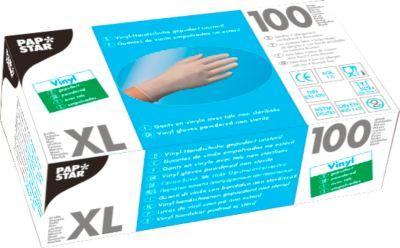 Wegwerphandschoenen, vinyl, gepoederd, transparant, 100 stuks, maat XL