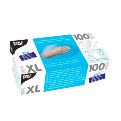Wegwerphandschoenen, vinyl, poedervrij, transparant, 100 stuks, maat XL