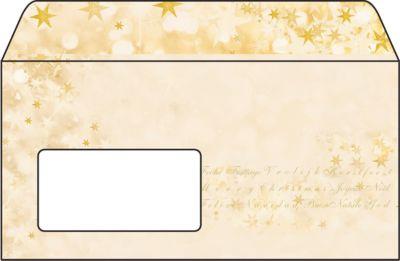 Weihnachts-Briefumschlag Christmas Glow, gummiert, Fensterstanzung, DIN lang, 50 St.