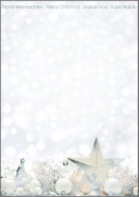 Weihnachts-Motiv-Papier White Stars, DIN A4, silberne Heißfolienprägung, 25 Blatt
