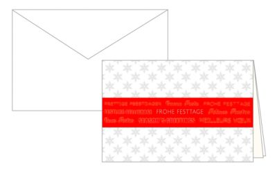 Weihnachtskarten Korsch, 170 x 115 mm, rote Banderole, mit Einlagen & Umschlägen, weiß, 10 Stück