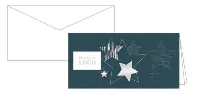 Weihnachtskarten Korsch Logo, 210 x 105 mm, Fensterstanzung, Einlagen & Umschläge, d.grau, 10 Stück