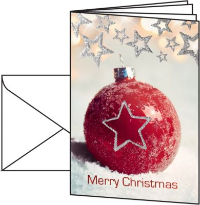 Weihnachtskarten Sigel Christmas Bauble, A6, 220 g/m², Edelkarton mit Christbaumkugelmotiv, Einlage/Umschläge, 25 St.