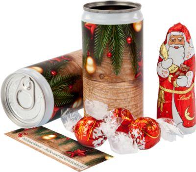 Weihnachtspräsent Lindt Dosengeheimnis, Weihnachtsmann + 3 Lindorkugeln, Werbedruck auf Anfrage