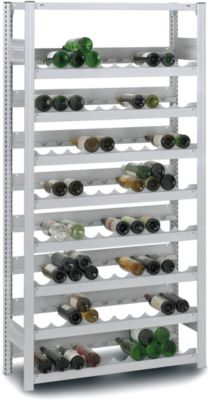 Weinflaschenregal, Grundfeld, Stecksystem, 7 Einsätze, 1750 x 1000 x 300 mm