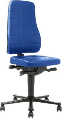 Werk-draaistoel All-in-One 9643, blauw kunstleder