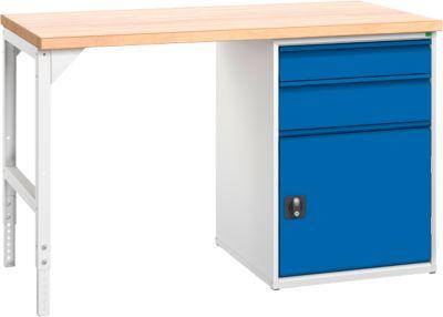Werkbank, 2 lades en 1 deur, breedte 1500 mm, met vergrendeling