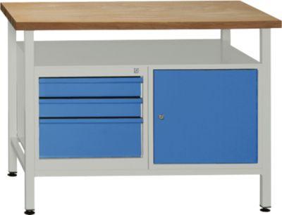 Werkbank met 1 deur, 3 laden en 1 legbord, B 1200 x D 600 x H 840 mm