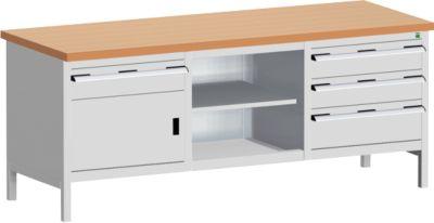 Werkbank met laden cubio KW-2078-2.4, lichtgrijs
