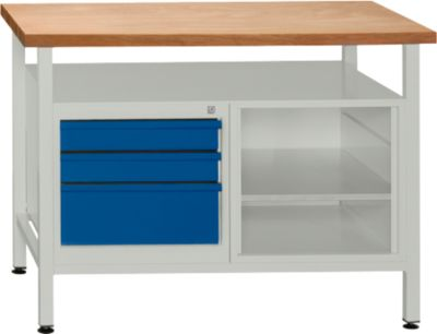 Werkbank mit 1 Fachboden und 3 Schubladen
