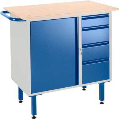 Werkbank mit Schrank, 4 Schubladen und Stellfüßen