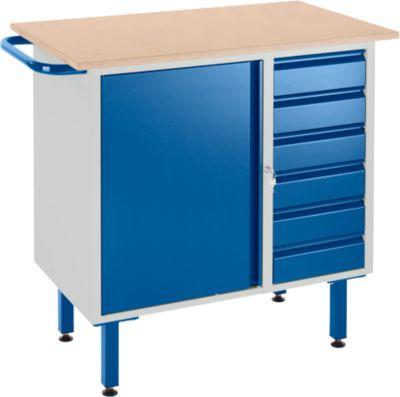 Werkbank mit Schrank, 6 Schubladen und Stellfüßen