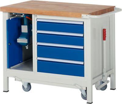Werkbank Modell 8185, fahrbar, absenkbar, mit Schrank und Schubladen, B 1000 x T 700 x H 880 mm