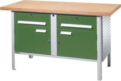 Werkbank PW 150-0, lichtgrau/grün