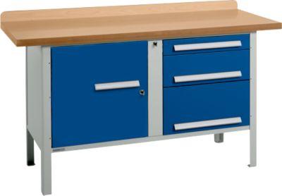 Werkbank PW 150-7, lichtgrau/blau