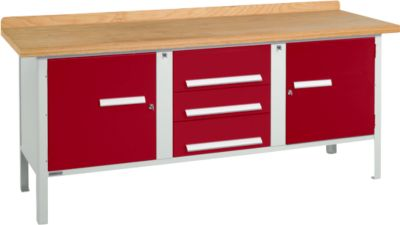 Werkbank PW 200-4, lichtgrau/rot