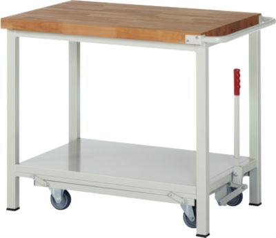 Werkbank Serie 8000, fahrbar, absenkbar, Ablageboden, B 1000 x T 700 x H 880 mm