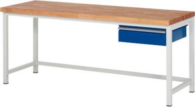 Werkbank Serie 8000, stationär, mit Hängeschublade, B 2000 x T 700 x H 840 – 1040 mm