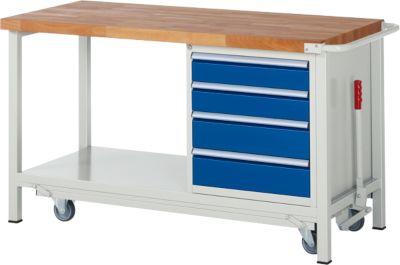 Werkbank Serie 8162, absenkbar, fahrbar, 4 Schubladen, B 1500 x T 700 x H 880 mm
