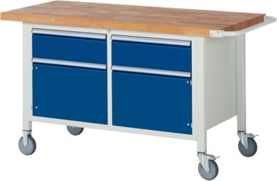 Werkbank Serie 8466, fahrbar, 2 Schubladen, 2 Türen, B 1500 x T 700 X H 880 mm