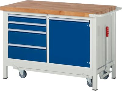 Werkbank Serie 8470, absenkbar, fahrbar, 4 Schubladen und Fachboden, B 1250 x T 700 x H 880 mm