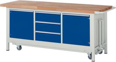 Werkbank Serie 8569, absenkbar, 3 Schubladen, 2 Fachböden mit Tür