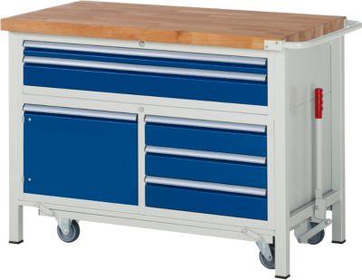 Werkbank Serie 8922, absenkbar, 5 Schubladen, 1 Fachboden mit Tür, B 1250 x T 700 x H 880 mm