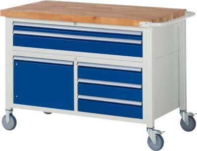 Werkbank Serie 8922, fahrbar, 5 Schubladen, 2 Fachböden mit Tür, B 1250 x T 700 x H 880 mm